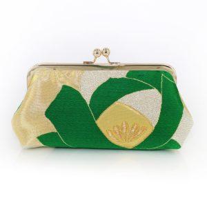 Heritage Refashioned Clutch Tsubaki Camellia in gold and green