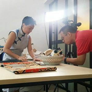 Heritage ReFashioned Kimono Clutches making SCMP (Photo by Liying Lim)