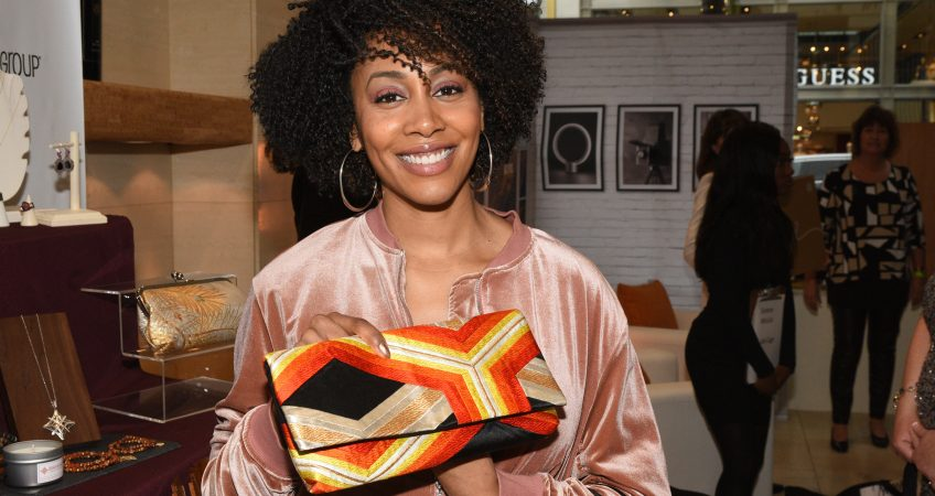 Simonne Missick with Heritage ReFashioned Kimono Clutch at the GBK Celebrity Gifting Lounge honoring the Oscars Academy Award 2018