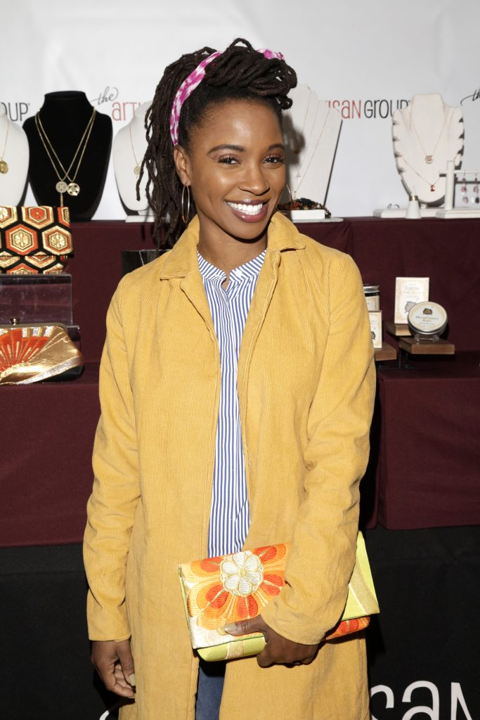 Shanola Hampton with Heritage ReFashioned Kimono Clutch
