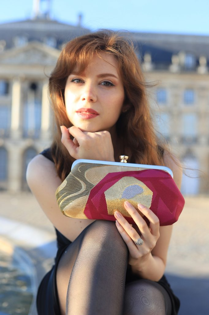 Heritage ReFashioned Kimono Clutch Styled in vintage wear by Sabrina Lambert, Bordeaux France. Photo Captured by Kev Tex